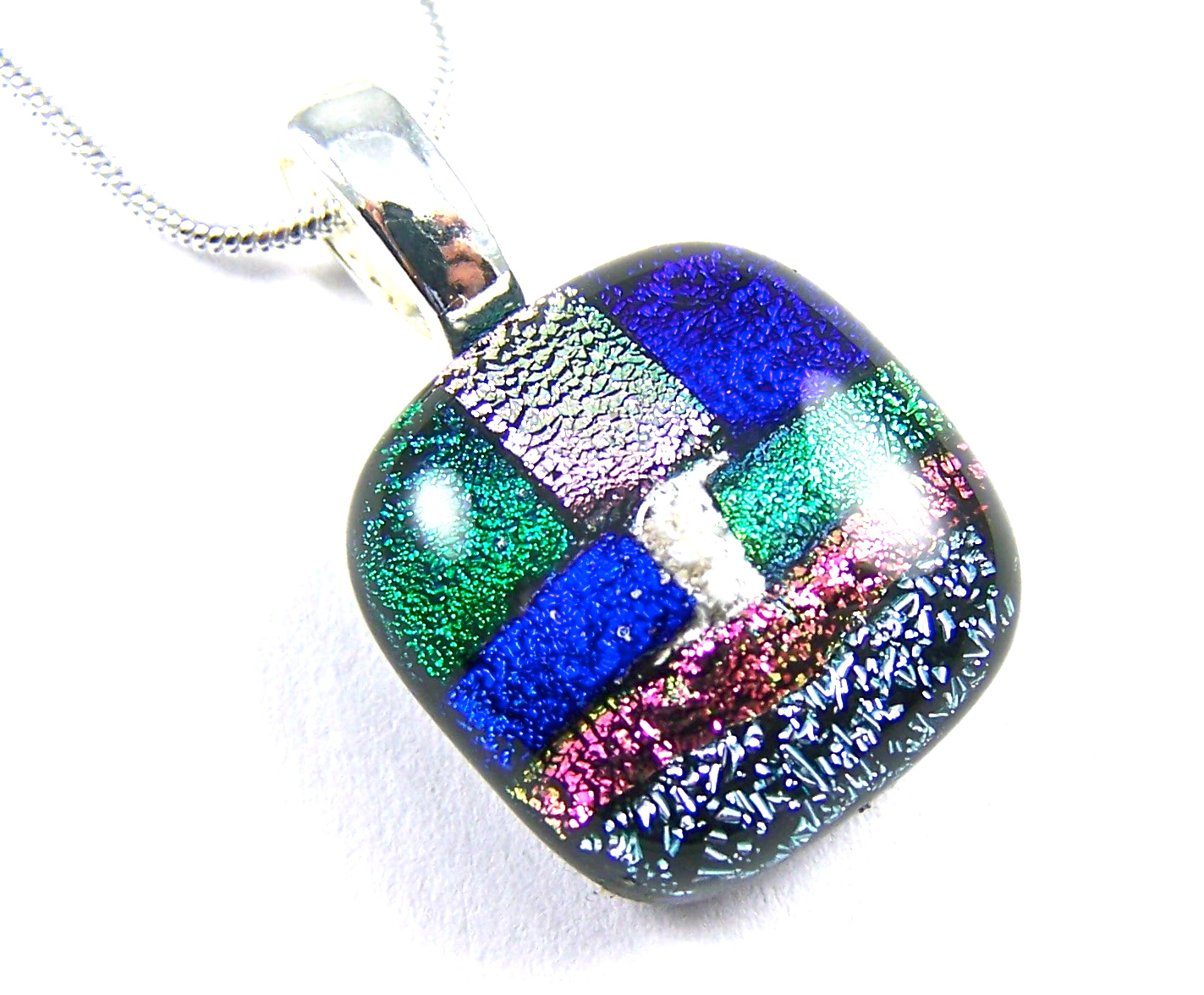 Small dichroic glass memorial pendant cremation ashes jewelry memorial ashes cremation pendant small patchwork blue coral pink mozeypictures Choice Image