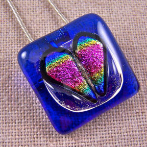 Memorial Cremation Ashes Pendant Pink Rainbow Heart Cobalt Blue Stained Glass