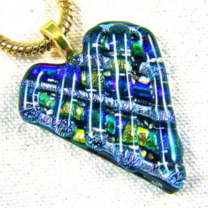 Heart Memorial Ashes Cremation Ashes Pendant – Silver Green Gold Dichroic Glass