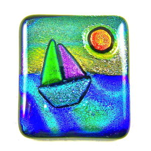 Sailing Sunset Memorial Ashes Paperweight (or Pendant) Dichroic Glass Cremation Keepsake - Multicolored
