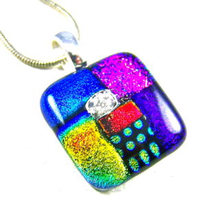 Small Dichroic Glass Memorial Pendant Cremation Jewelry Patchwork Color Block Design Multi-colored
