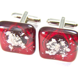 Memorial Ashes Cuff Links / Cremation Jewelry / Gift for Men Ruby Red