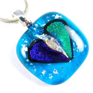 Heart Memorial Cremation Ashes Pendant Cobalt and Teal Green on Turquoise Blue Stained Glass