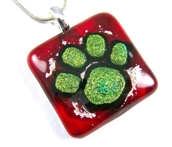 Dog Memorial Cremation Ashes Pendant – Gold Paw Print Dichroic Glass on Red Pendant or Key Chain