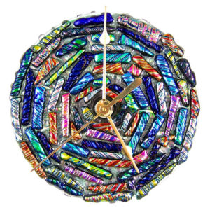 Cremation Clock - Memorial Ashes Gift Keepsake Dichroic Glass Ripple Multicolored
