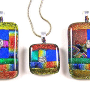 Dichroic Glass Memorial Pendant / Cremation Jewelry – Patchwork Color Block Design – Fall Colors