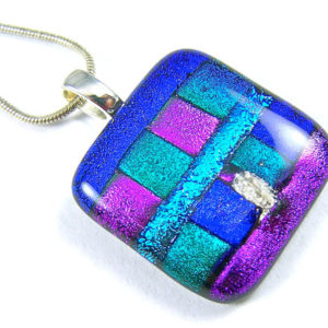 "Dichroic Pendant / Cremation Jewelry - Blue Green Purple Fused Glass - Custom Made - 1"" / 25mm"