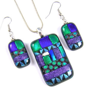 Memorial Cremation Ashes Earrings Pendant Set Blue, Green Purple Patterned Patchwork Dichroic Glass