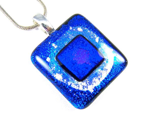 Dichroic glass memorial pendant cremation ashes cobalt blue teal dichroic glass memorial pendant cremation ashes jewelry cyan cobalt blue on teal square aloadofball Gallery