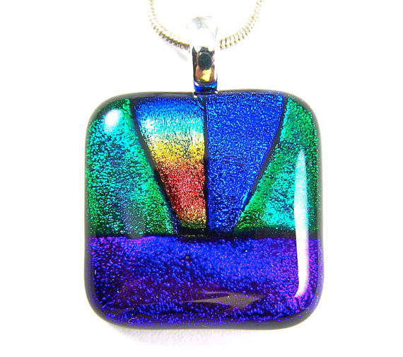 Glass cremation pendant archives hayden brook memorials cremation tropical sunrise dichroic glass cremation ashes pendant water landscape jewelry heavenly rays in blue green orange aloadofball Image collections