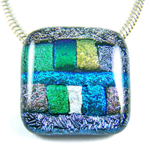 Dichroic Glass Memorial Pendant Cremation Jewelry Silver Gold Blue Patchwork Color Block Design