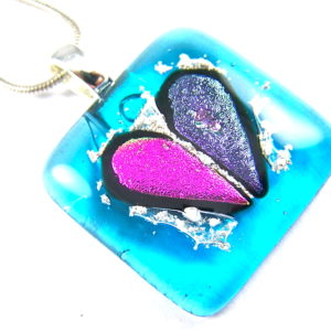 Heart Memorial Cremation Ashes Pendant Pink Purple on Turquoise Blue Stained Glass